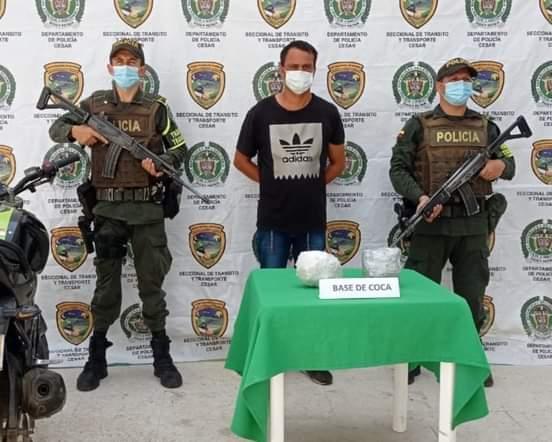 Transportando droga, capturan a un hombre en Aguachica.