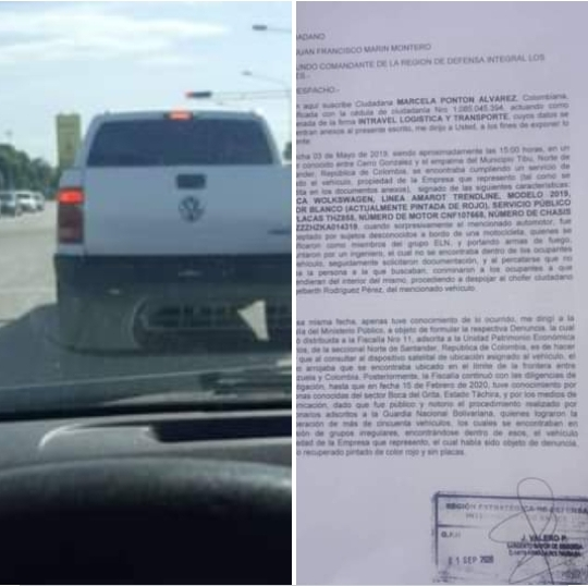 A Comerciante le hurtaron camioneta en Norte de Santander, ahora general venezolano se pasea en ella
