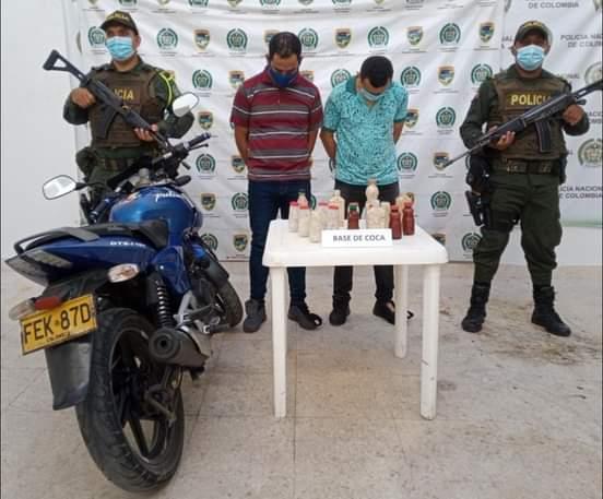 Dos capturados en la vía Ocaña – Aguachica mientras transportaban 4.300 gramos de base de coca